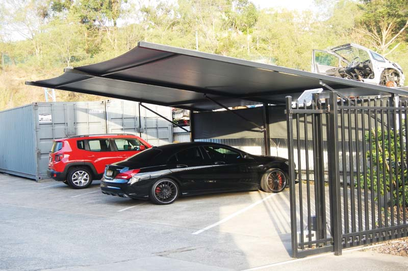 smaller comercial carpark structure from gold coast shade sails