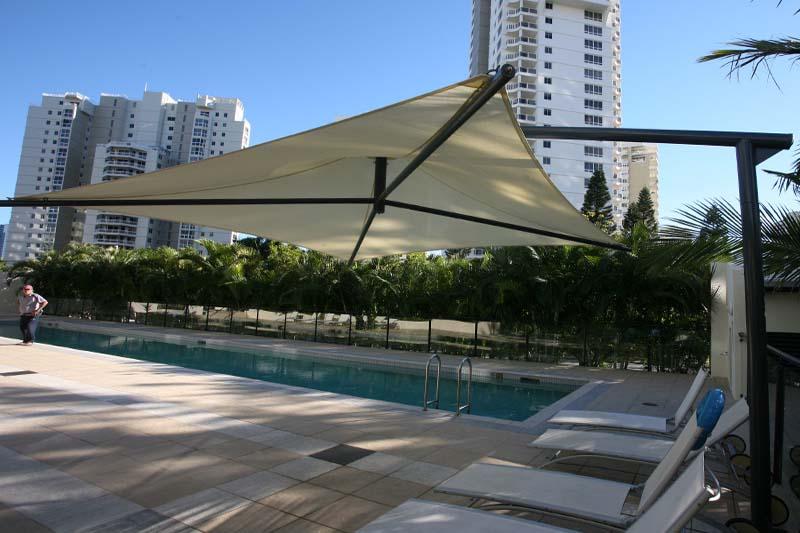 gold coast shade sails umbrella on a gantry