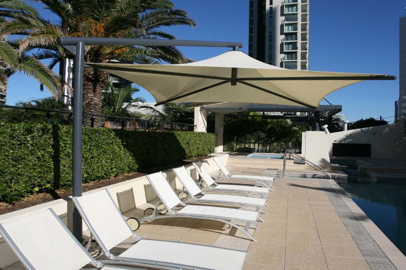 gold coast shade sail umbrella by the pool